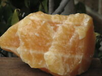 Large Raw Smooth Natural Orange Calcite Crystal Chunk - Omni New Age