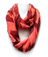 Burgundy and Coral Chevron Infinity Scarf