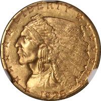 1925-D Indian Gold $2.50 NGC MS62 Nice Eye Appeal Nice Luster Nice Strike