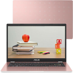 "ASUS E410 14"" Portable Lightweight Laptop Intel Celeron 4GB RAM 64GB eMMC Pink"
