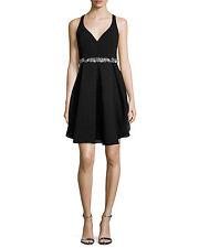 NWT Marchesa Notte Womens Cocktail Dress $645 Sz 2 S Embellished Black Silk Blnd