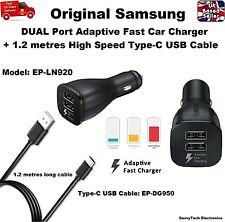 100% Genuine SAMSUNG DUAL PORT Fast Car Charger + Type-C Cable for Galaxy Note 8