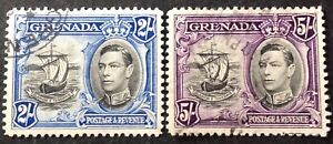 Grenada 1938 2 stamps 2 & 5 Shillings vfu