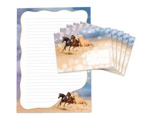 Briefpapier als Notizblock + 15 Briefumschläge drei Pferde Kindermotiv Kinder