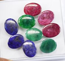 104.50 Ct 9Pcs Certified Sapphire Emerald And Ruby Gemstone Lot For Sale
