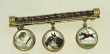 Antique Art Deco Equestrian,Dog & Steeplechase Brass Essex Crystal tow side Pin