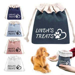 Dog Treat Bag/Pouch Personalised w/ Name Pet Puppy Walk Training Reward Biscuit