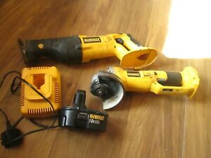dewalt cordless angle grinder .and  reciprocating saw plus charger and battery.