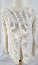 Bethany Mota Womens Pullover Sweater Ivory Knit Bows Cotton Blend Small