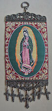 Icon of Mary La Virgen De Guadalupe Textile Wall Hanging With Crosses Crucifix