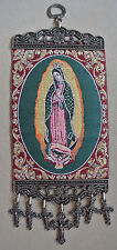 Free Ship! Icon of Mary La Virgen De Guadalupe Textile Wall Hanging With Crosses