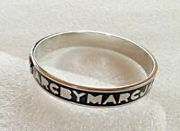 GENUINE MARC BY MARC JACOBS BRIGHT SILVER PLATED & BLACK ENAMEL BANGLE BRACELET