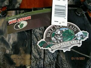 VTG NWT  Wolf Mountain Bib Overalls USA made Mossy Oak Real Tree SZ LG Insulated
