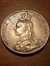 1890 Great Britain Victoria Jubilee Head 1 Crown Silver- Sweet Toning-Rarer Coin