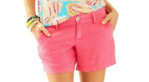 "NWT Lilly Pulitzer Calla Flamingo Pink Shorts Beach Linen 5"" NEW Size 4"