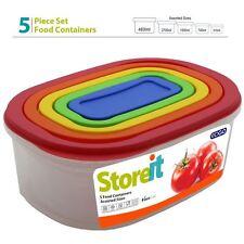 5pc Nourriture Conteneur de stockage Set avec couvercles BPA Libre en plastique Congélateur Micro-ondes Box