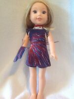 """4th of July Oven Mitt/Apron 14"""" Wellie Wishers American Girl doll clothes"""