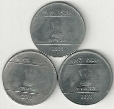 3 DIFFERENT 2 RUPEE COINS from INDIA - ALL 2008 with MINT MARKS of B, H & N