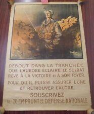 Affiche Emprunt de la Défense Nationale Lieutenant droit Guerre 14/18