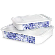 Enamelware Food Storage Container with Lid Made in Russia Blue White 1.5 L