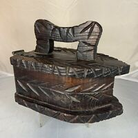 Vintage Carved Wood Hinged Box Iron Rustic Primitive Country Folk Art Farmhouse
