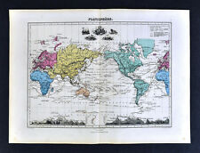 1877 Migeon Map - World Planisphere America Europe Africa Asia Mountain Heights