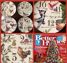 Better Homes and Gardens 12 Days Of Christmas Porcelain Salad Plates Set of 4