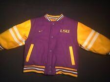 Nike LSU Reversible Wool Jacket Coat Size 3T Nylon Tigers Purple Yellow