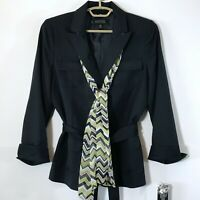 NWT Kasper Womens Navy Blue Blazer 3 Button Pockets Belted with Scarf Size 12P