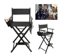 Directors Chair Canvas Tall Seat Black Wood Folding Hair Stylist W/ Storage Bag