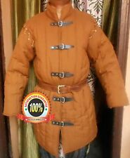 Medieval thick padded Camel Color Gambeson with Removable Full Sleeves Jacket