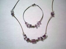 Clear Crystal Necklace & Bracelet Set Artisan Sterling Bead & Bar Amethyst &