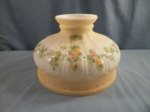 """10"""" Hand Painted Lamp Shade Orange Roses ALADDIN COLEMAN RAYO ROCHESTER LAMPS"""