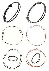 Mens Women Leather Cord Adjustable Sliding Knot Choker Necklace & Bracelet Gifts