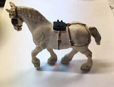Delightful Vintage 1972 Britain's Ltd. White Clydesdale Horse w/blinders! #075