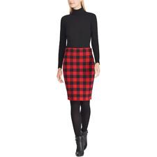 NEW Chaps Women Pencil Knit Skirt Buffalo Plaid Black S M L XL Plus 1X 2X 3X $76