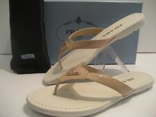 $490 NEW PRADA Women US 7 EU 37 Nude Patent Leather Flip Flop Flat Sandals Shoes