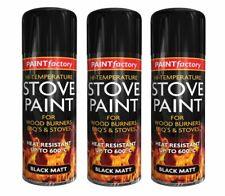 3 X Heat Resistant Matt Black Spray Paint Stove High Temp 600 degC 400ml