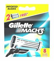 Gillette Mach3 Manual Shaving 8 Razor Blades Genuine Cartridges