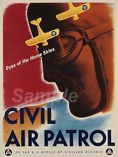 Vintage Patrulla Aérea Civil Guerra Poster A3 impresión