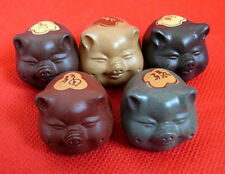 Tea accessirues W1 Chinese YIXING happy Five color of Lucky 5pcs rich pig 富禄寿喜财