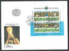 1990 SAN MARINO FDC FAIP FOGLIETTO MONDIALI CALCIO ITALIA NO TIMBRO ARRIVO EDG2