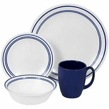 Corelle Plates Dinnerware 64 Piece Set Cafe Blue For 16 Break Chip Resistant NEW