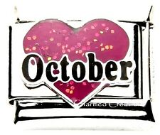 October Heart Love Birthstone Birthday 9mm Italian Charm Stainless Steel Link