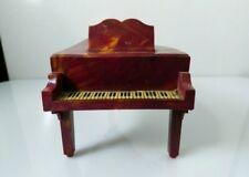 Vintage Miniature Piano Plastic Dollhouse Furniture Brown Swirl Design