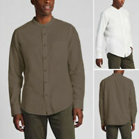 Men's Linen Long Sleeve Business Work Shirts Casual Loose Fit Tops Tee Blouse