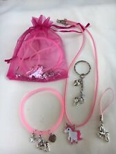 Unicorn Pre Filled Party Bags, Necklace, Bracelet, Cord Charm & keyring