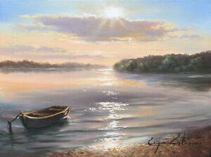 J. Litvinas Original Oil Painting 'TIED BOAT' 8 by 6 inches