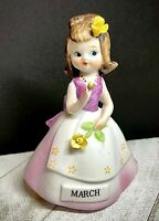 Vintage Lefton Hand Painted - March - Girl of the Month - Figurine Taiwan Tag