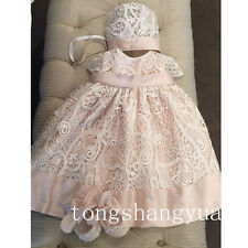 Pink Baptism Dresses White Ivory With Bonnet Lace Baby Christening Gowns 0-24 M